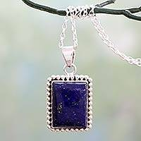 Lapis lazuli pendant necklace, 'Good Will Spirit' - 925 Sterling Silver Necklace from India with Lapis Lazuli