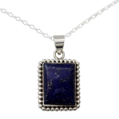 925 Sterling Silver Necklace from India with Lapis Lazuli