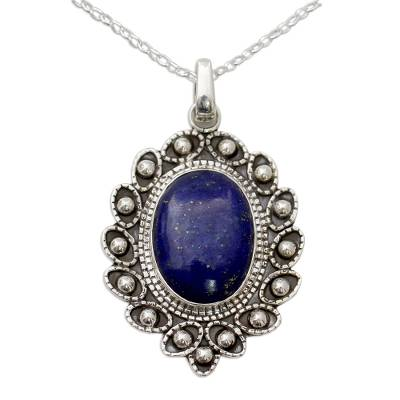 Lapis Lazuli and Sterling Silver Flower Necklace from India