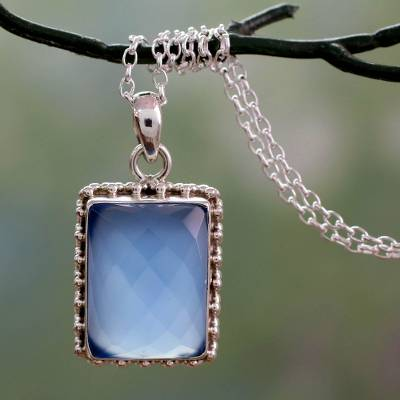 Sterling silver pendant necklace, 'Good Will Spirit' - Sterling Silver Necklace from India with Blue Chalcedony Gem