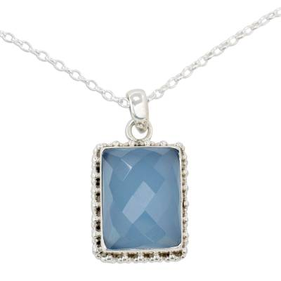 Sterling Silver Necklace from India with Blue Chalcedony Gem
