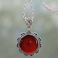 Carnelian pendant necklace, 'Burst of Passion' - Indian Handcrafted Sterling Silver and Carnelian Necklace