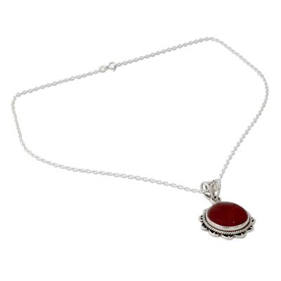 Indian Handcrafted Sterling Silver and Carnelian Necklace