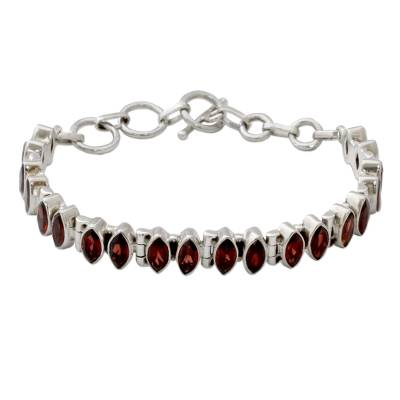 Garnet and Silver Tennis Bracelet Handcrafted in India