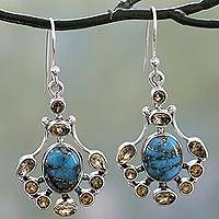 Citrine dangle earrings, 'Droplets of Sunshine' - Sterling Silver Citrine Earrings with Composite Turquoise