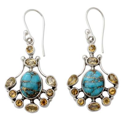 Sterling Silver Citrine Earrings with Composite Turquoise