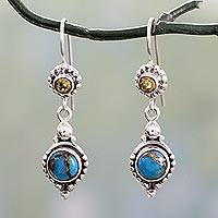 Citrine dangle earrings, 'Sweet Reverie' - Citrine Sterling Silver Earrings with Composite Turquoise