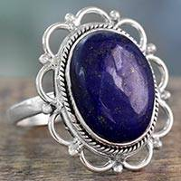 Lapis lazuli cocktail ring, 'Floral Jaipur' - Lapis Lazuli Floral Cocktail Ring in 925 Sterling Silver
