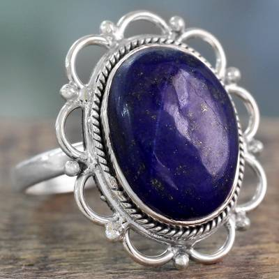 Lapis Lazuli Floral Cocktail Ring in 925 Sterling Silver