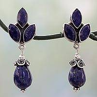 Lapis lazuli dangle earrings, 'Glowing Blue' - Glossy Blue Lapis Lazuli Earrings on 925 Silver from India