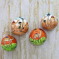 Papier mache ornaments, 'Wise Camels' (set of 4) - Handmade Papier Mache Round Camel Ornaments (Set of 4)