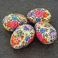 Papier mache decorative eggs, 'Floral Blast' (set of 4) - Hand Crafted Colorful Papier Mache Eggs (Set of 4)