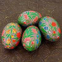 Papier mache decorative eggs, 'Colorful Blooms' (set of 4) - Artisan Crafted Papier Mache Eggs Hand Painted Set of 4
