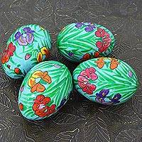 Papier mache eggs, 'Bright Hues' (set of 4) - Handmade Papier Mache Eggs with Floral Motif (Set of 4)