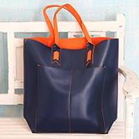 Handcrafted tote handbag, 'Versatile Navy' - Handcrafted Navy Blue Tote Bag with Orange Accents