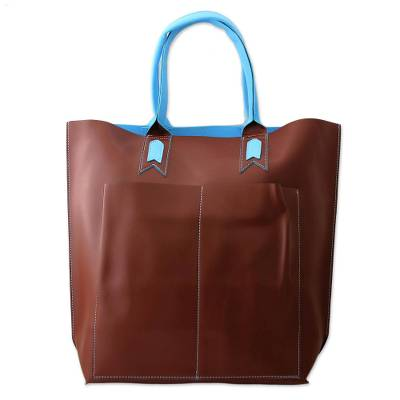 Artisan Crafted Tote Bag in Brown with Blue Trim