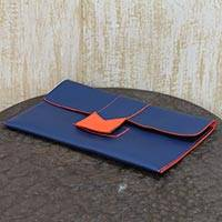 Clutch handbag, 'Navy Blue Chic' - Navy Blue Handcrafted Clutch Bag with Orange Trim