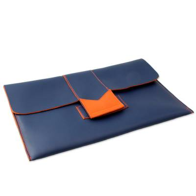 Navy Blue Handcrafted Clutch Bag with Orange Trim