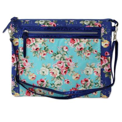 Blue Floral Print Cotton Blend Shoulder Bag from India