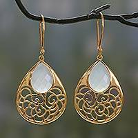 Gold vermeil chalcedony dangle earrings, 'Aqua Lace Teardrop' - Gold Vermeil Indian Jali Earrings with Faceted Chalcedony