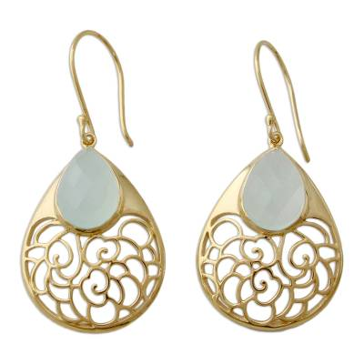 Gold Vermeil Indian Jali Earrings with Faceted Chalcedony