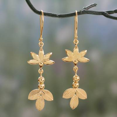 Gold vermeil dangle earrings, 'Leaves and Petals' - Indian Artisan Crafted Dangle Earrings in 22k Gold Vermeil