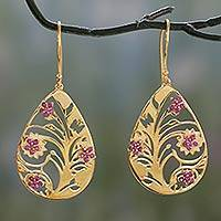 Gold vermeil rhodolite dangle earrings, 'Jali Tree of Life' - India 22k Gold Vermeil Rhodolite Tree of Life Earrings