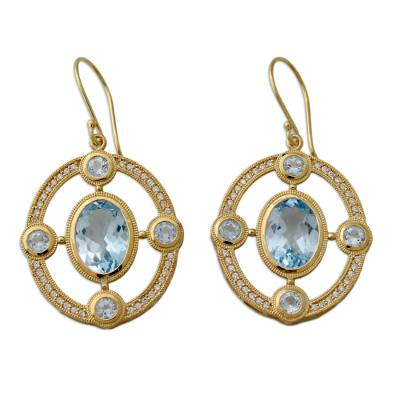 Sparkling Blue Topaz Gold Vermeil Earring with CZ