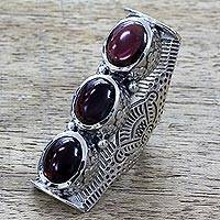 Garnet multi-stone ring, 'Princess Trio' - Hand Made Multi-Stone Garnet Sterling Silver Ring from India