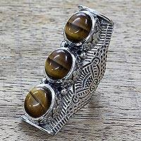 Tiger's eye multi-stone ring, 'Princess Trio' - Hand Made Tiger's Eye Sterling Silver Ring from India