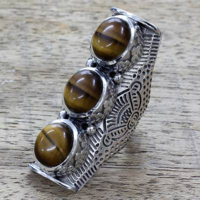 Tigers eye multi-stone ring, Princess Trio