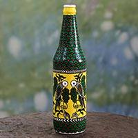 Decorative glass bottle, 'Bangalore Lovebirds' - Hand Painted Bird Theme Decorative Green Glass Bottle