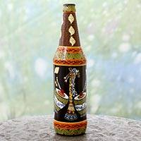 Decorative glass bottle, 'Music of Bangalore' - Hand Painted Decorative Glass Bottle with Music Instruments