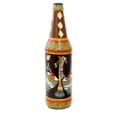 Hand Painted Decorative Glass Bottle with Music Instruments