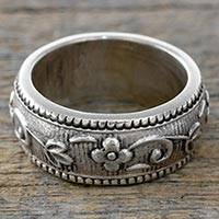 Sterling silver band ring, Say it with Flowers