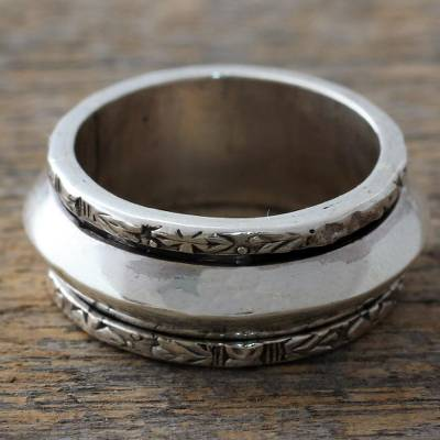 fas silver rings etsy - Hand Crafted Sterling Silver Floral Meditation Ring