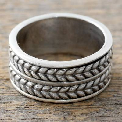 good quality rings - Artisan Crafted Sterling Silver Ring with Braided Motif
