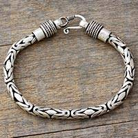 Men's sterling silver braided bracelet, 'Flowing Rivers' - Men's Handcrafted Sterling Silver Braided Bracelet