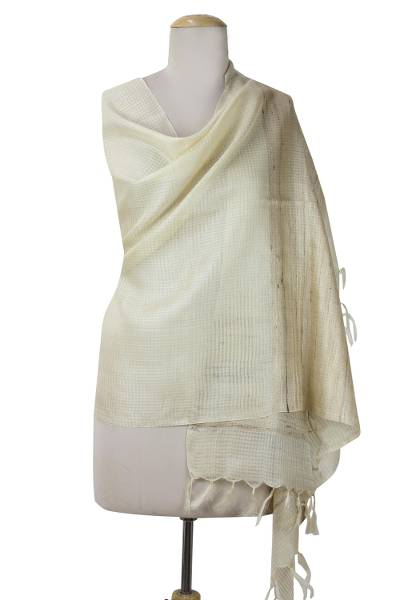 Tussar silk shawl, 'Grace of India' - Hand Woven Tussar Silk Shawl Beige Wrap from India