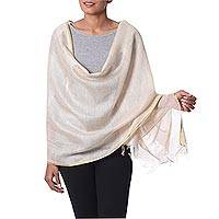 Tussar silk shawl, 'Beige Diva' - Beige with Golden Accent Tussar Silk Shawl Indian Wrap