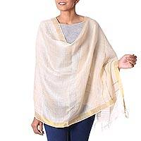 Tussar silk shawl, 'Golden Whimsy' - Beige Tussar Silk Shawl with Golden Accents Woven by Hand