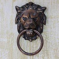 Brass door knocker, 'Lion Arrival' - Copper Plated Brass Lion Door Knocker with Antique Look