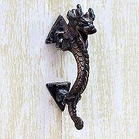Brass door handle, 'Dragon Passage' - Antiqued Indian Dragon Door Handle in Copper Plated Brass