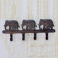 Brass key holder, 'Adventurous Elephants' - Key Holder Antiqued Elephants on Copper Plated Brass
