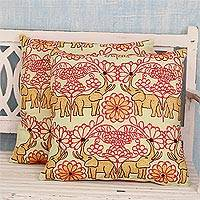 Cotton cushion covers, 'Roaring Elephants' (pair) - Artisan Crafted 100% Cotton Elephant Cushion Covers (Pair)