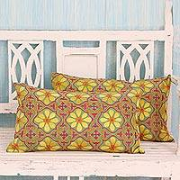 Cotton cushion covers, 'Cryptic Flowers' (pair) - Embroidered 100% Cotton Long Floral Cushion Covers (Pair)
