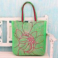 Cotton shoulder bag, 'Lime Delight' - Artisan Crafted Green Embroidered Cotton Shoulder Bag