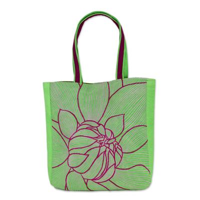 Artisan Crafted Green Embroidered Cotton Shoulder Bag