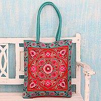 Cotton shoulder bag, 'Floral Emblem' - Artisan Crafted Embroidered 100% Cotton Floral Shoulder Bag