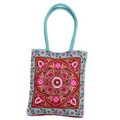 Artisan Crafted Embroidered 100% Cotton Floral Shoulder Bag